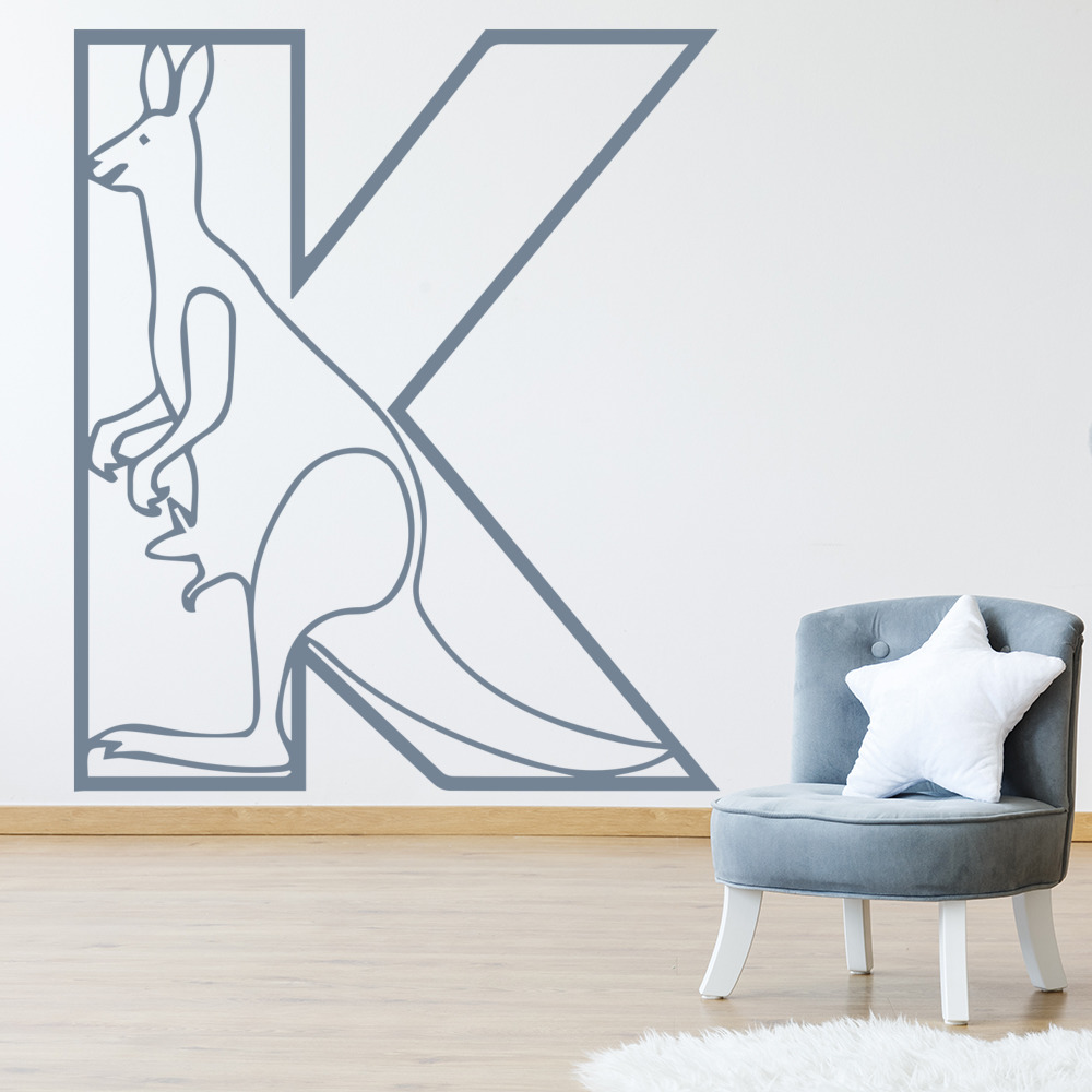 K Kangaroo Animal Alphabet Educational Wall Stickers School Classroom Art Decals