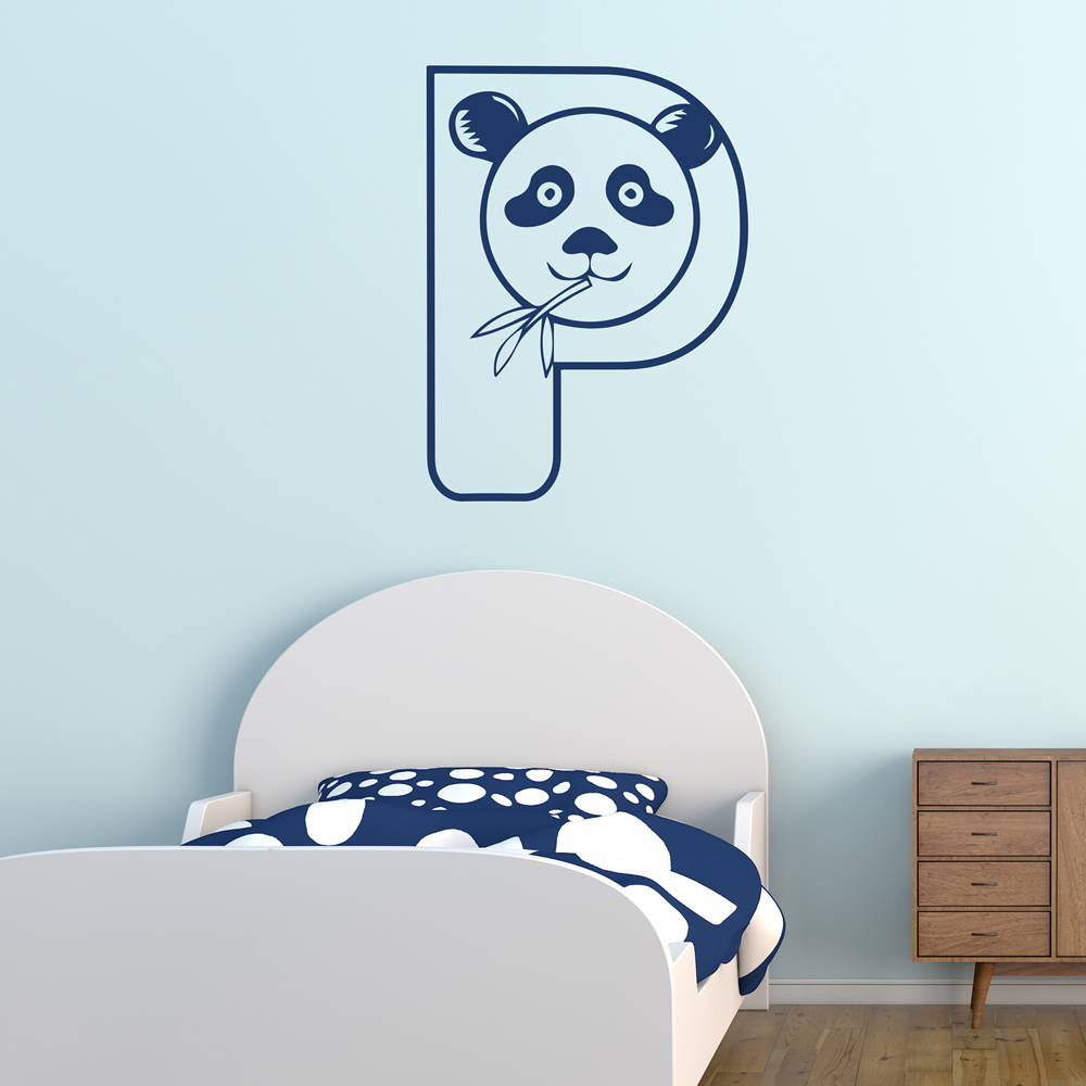 P PAnda Animal Alphabet Educational Wall Stickers School Classroom Art Decals