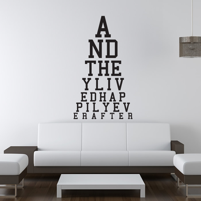 Happily Ever After Eye Chart Wall Sticker Eye Test Wall Art