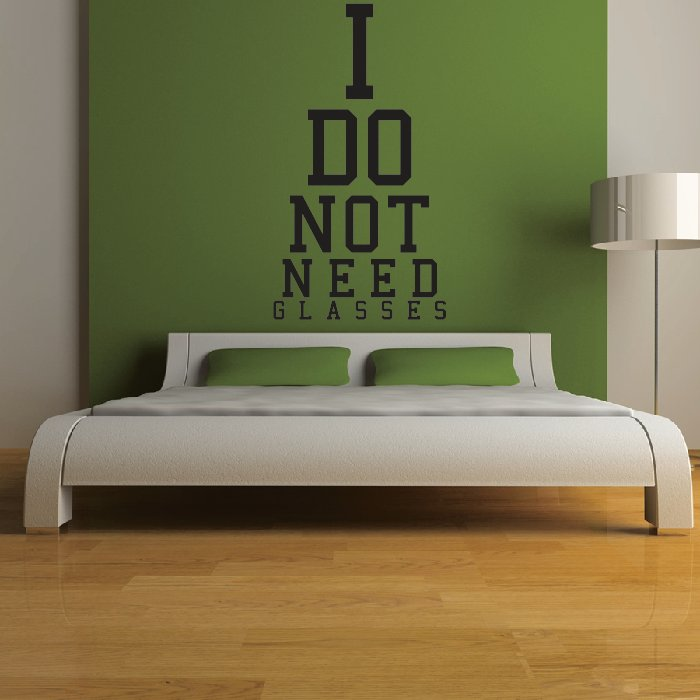 I Do Not Need Glasses Eye Chart Wall Sticker Eye Test Wall Art