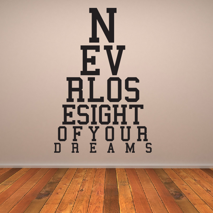 Never Lose Sight Eye Chart Wall Sticker Eye Test Wall Art