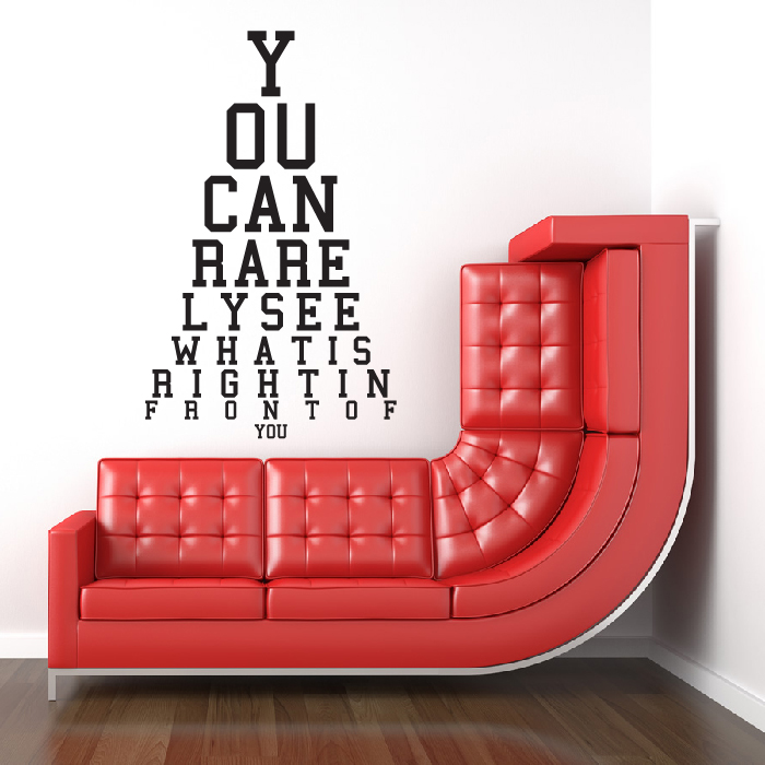 Right In Front Of You Eye Chart Wall Sticker Eye Test Wall Art