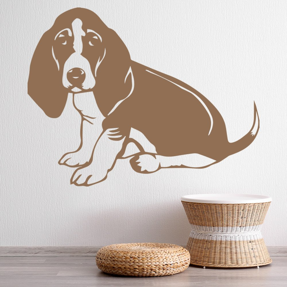 basset hound dog wall sticker puppy animals wall decal kids canine home decor. Black Bedroom Furniture Sets. Home Design Ideas