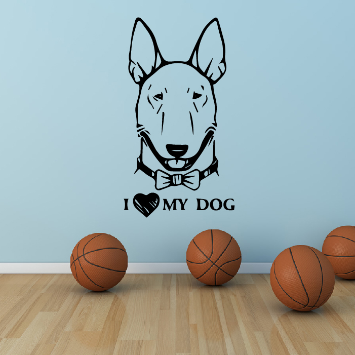 Bull Terrier Front Profile Wall Sticker Dog Wall Art