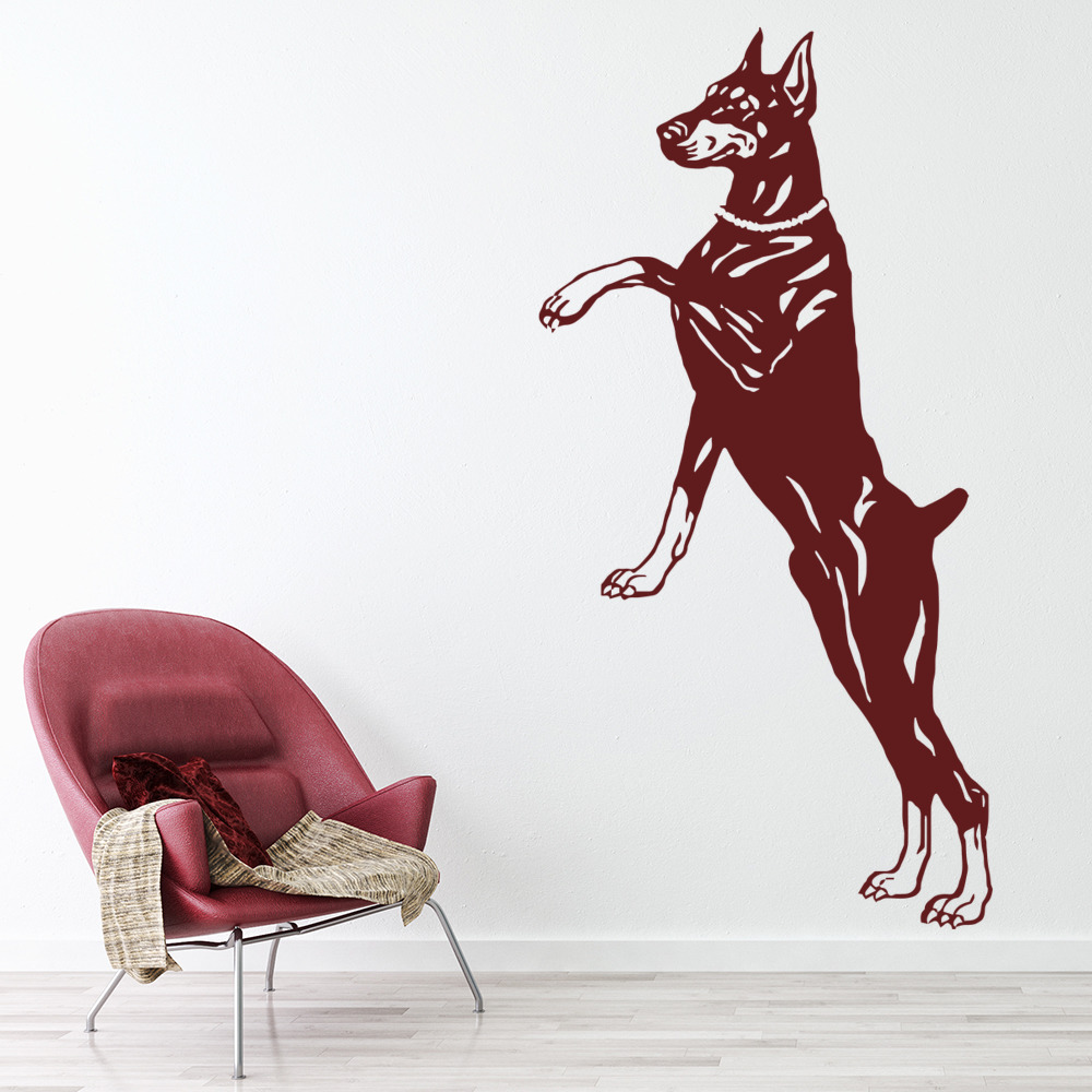 Doberman On Hind Legs Wall Sticker Dog Wall Art