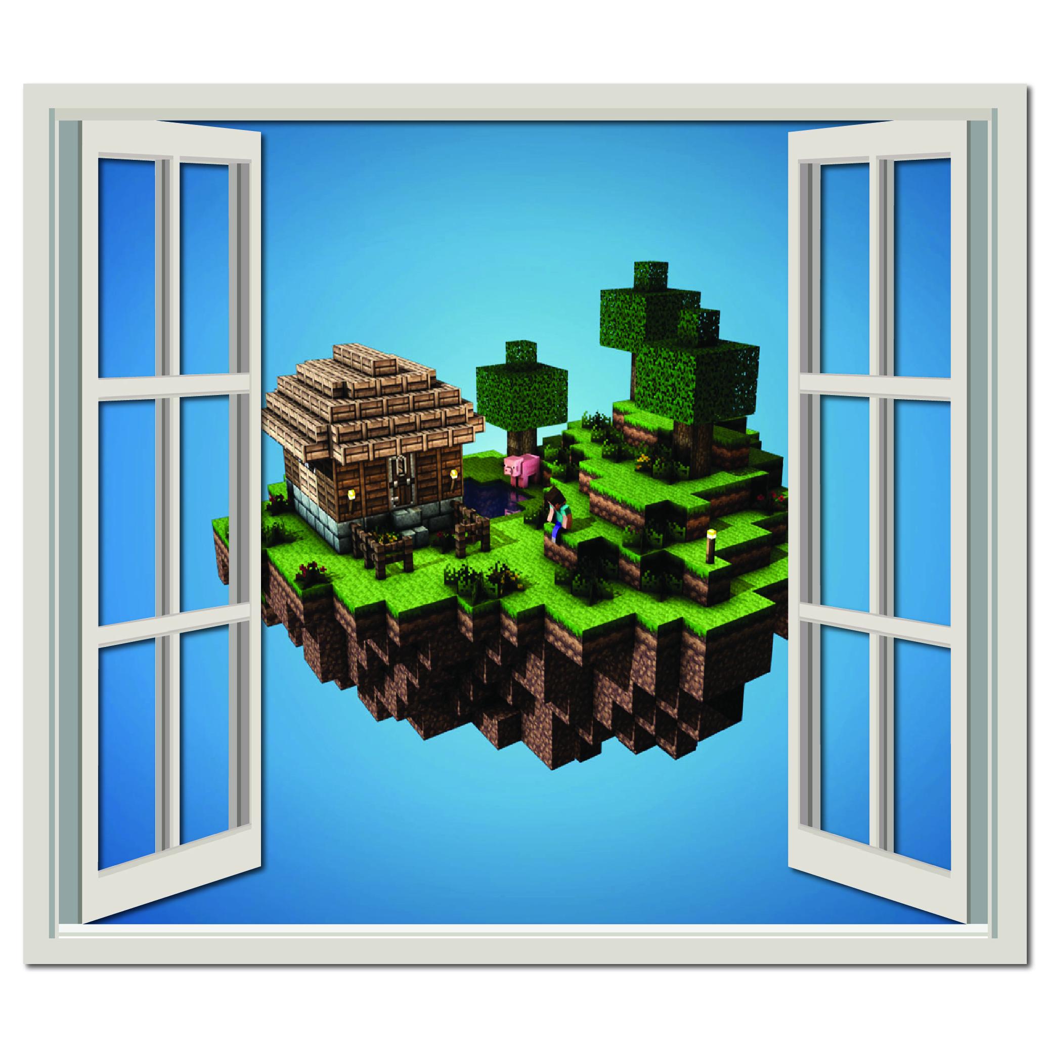 Window Cloud House Wall Sticker Minecraft Wall Art