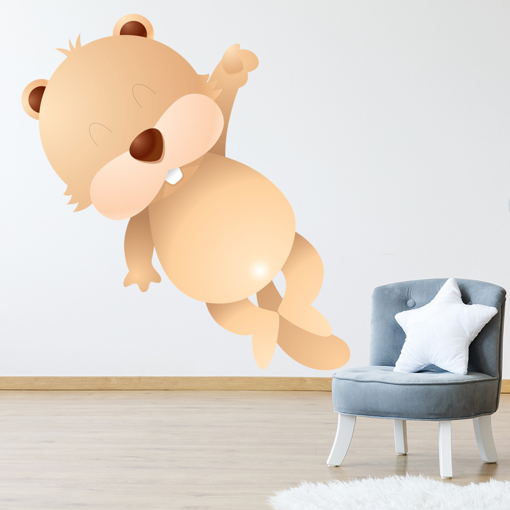 Happy Cartoon Beaver Digital Wall Sticker