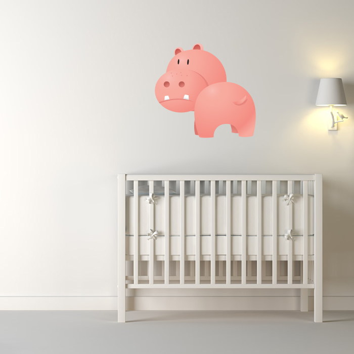 Angry Cartoon Hippo Digital Wall Sticker