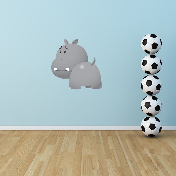 Unhappy Hippo Digital Wall Sticker