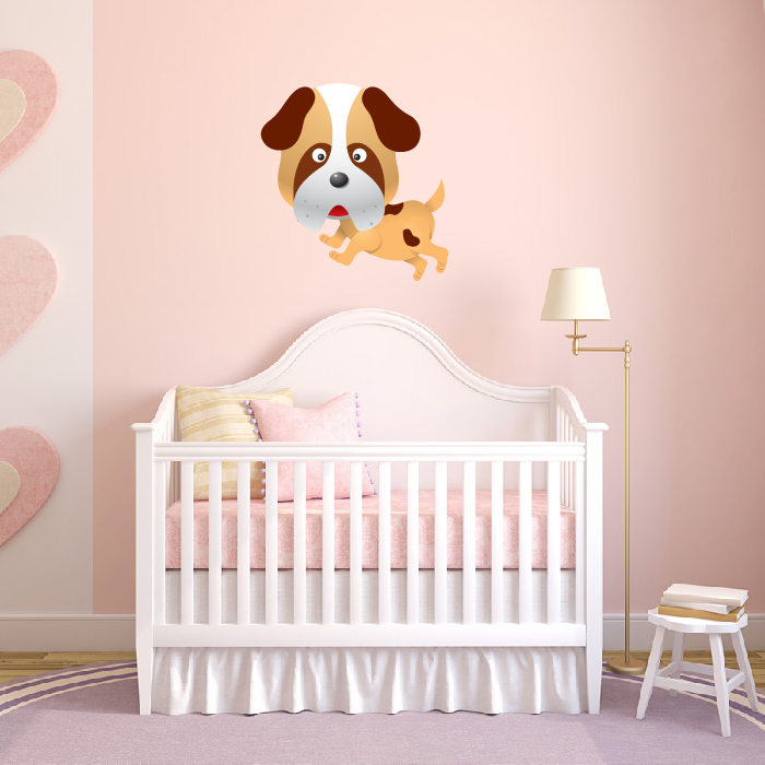 Running Cartoon Puppy Digital Wall Sticker