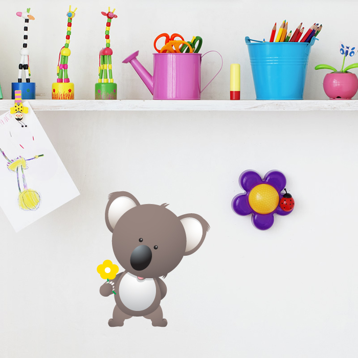 Koala Bear With Flower Digital Wall Sticker