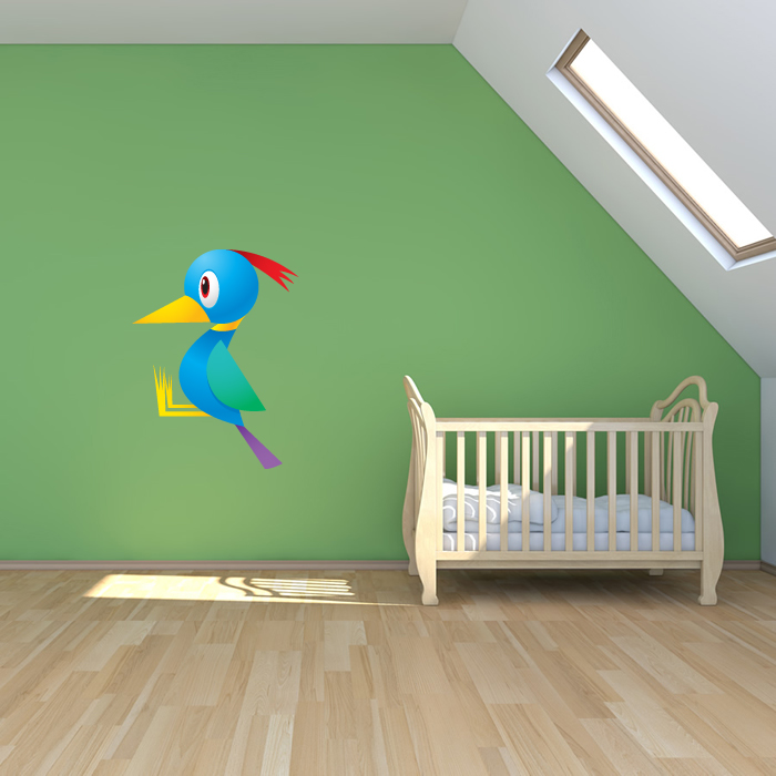Cartoon Woodpecker Digital Wall Sticker