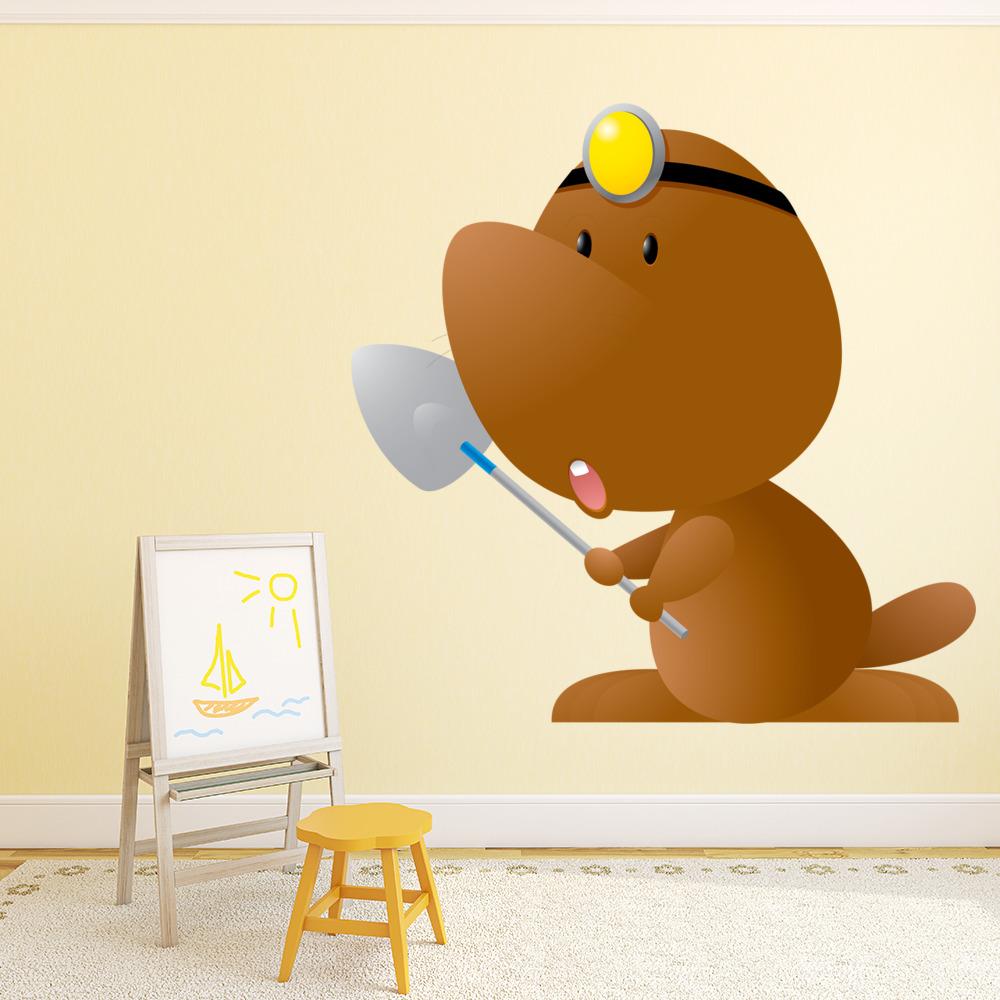 Digging Cartoon Mole Digital Wall Sticker