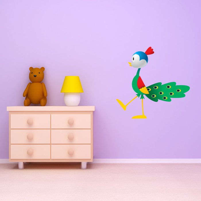 Colourful Peacock Digital Wall Sticker