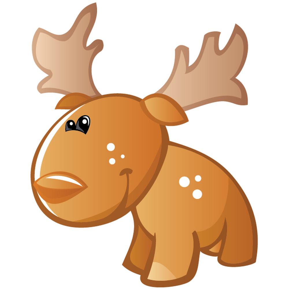 Cute Cartoon Moose Dig...