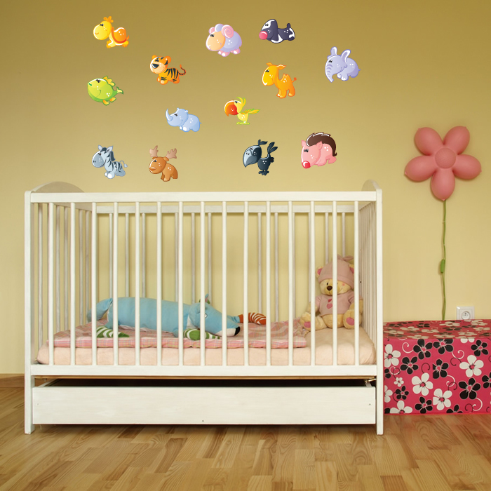 Cute Cartoon Animal Group Digital Wall Sticker