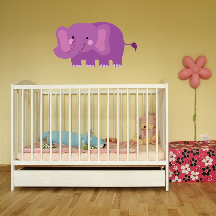 Purple Cartoon Elephant Digital Wall Sticker
