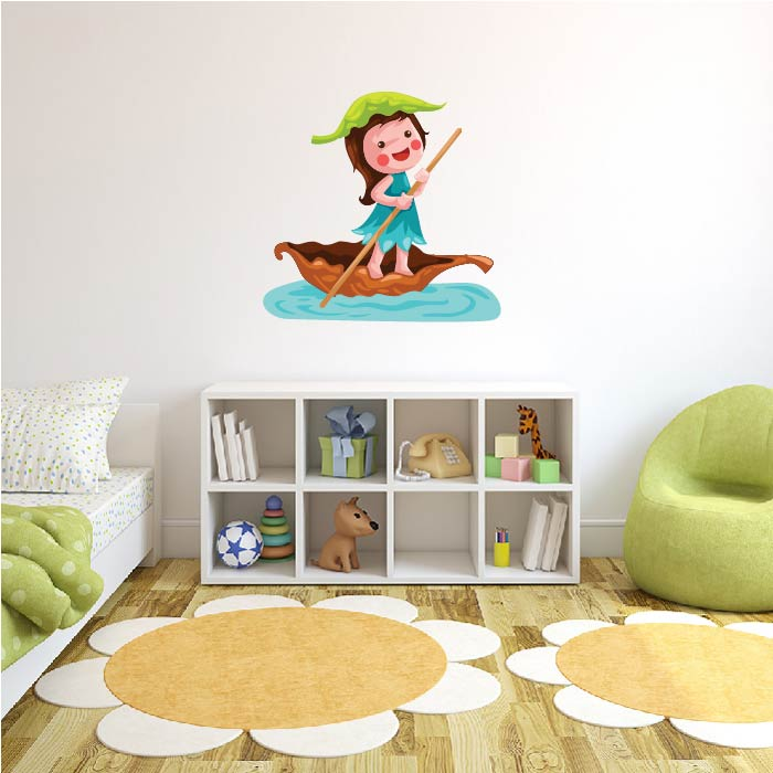 Fairy Leaf Sail Boat Digital Wall Sticker