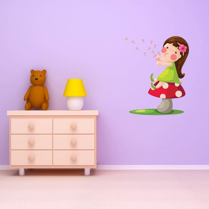 Fairy Blowing Dandelion Digital Wall Sticker