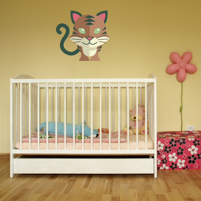 Cartoon Tabby Cat Digital Wall Sticker