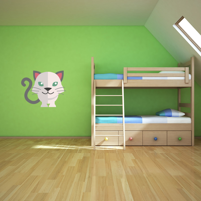 Cartoon White House Cat Digital Wall Sticker