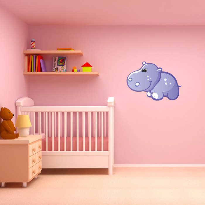 Cute Baby Hippo Digital Wall Sticker