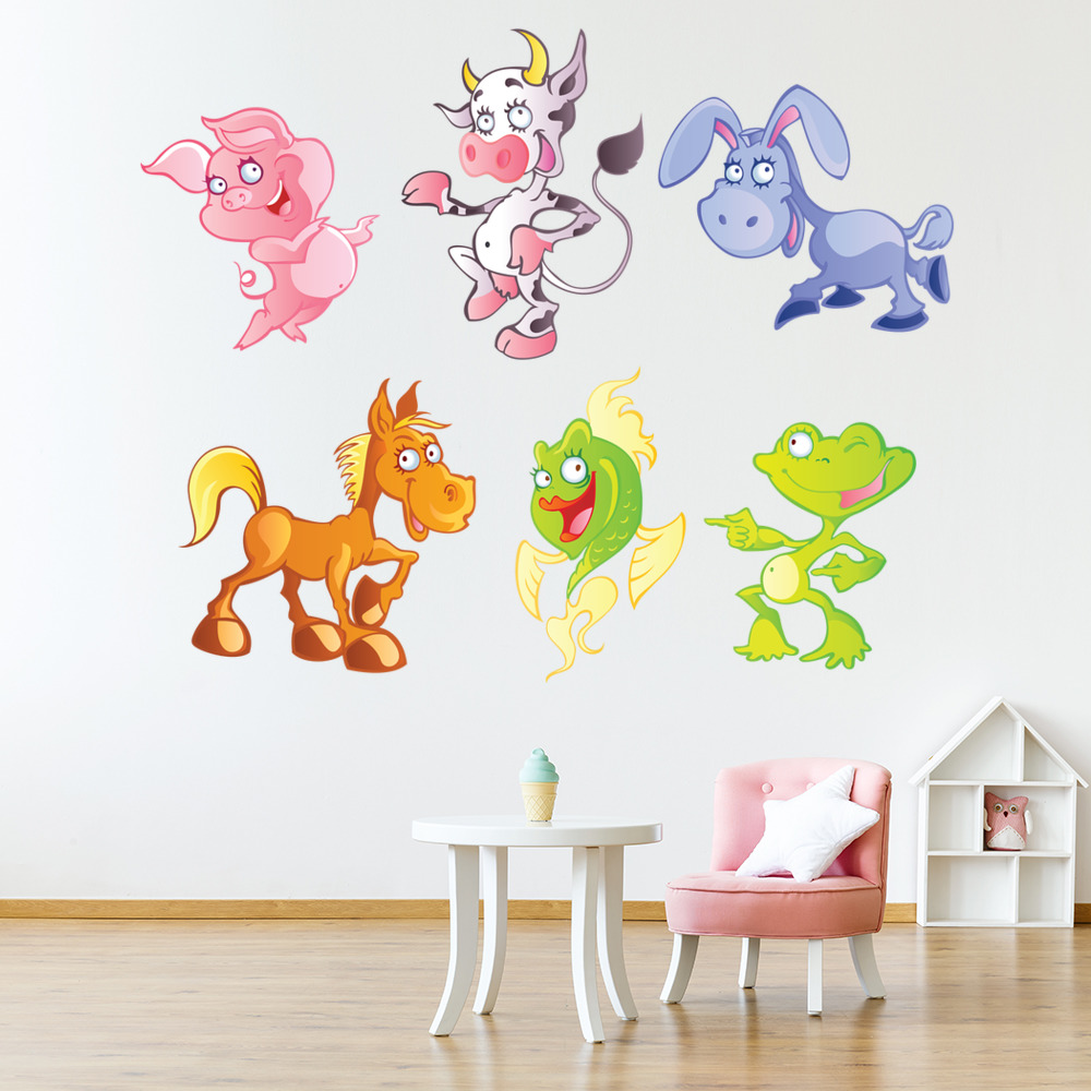Cute Baby Animals Group Digital Wall Sticker