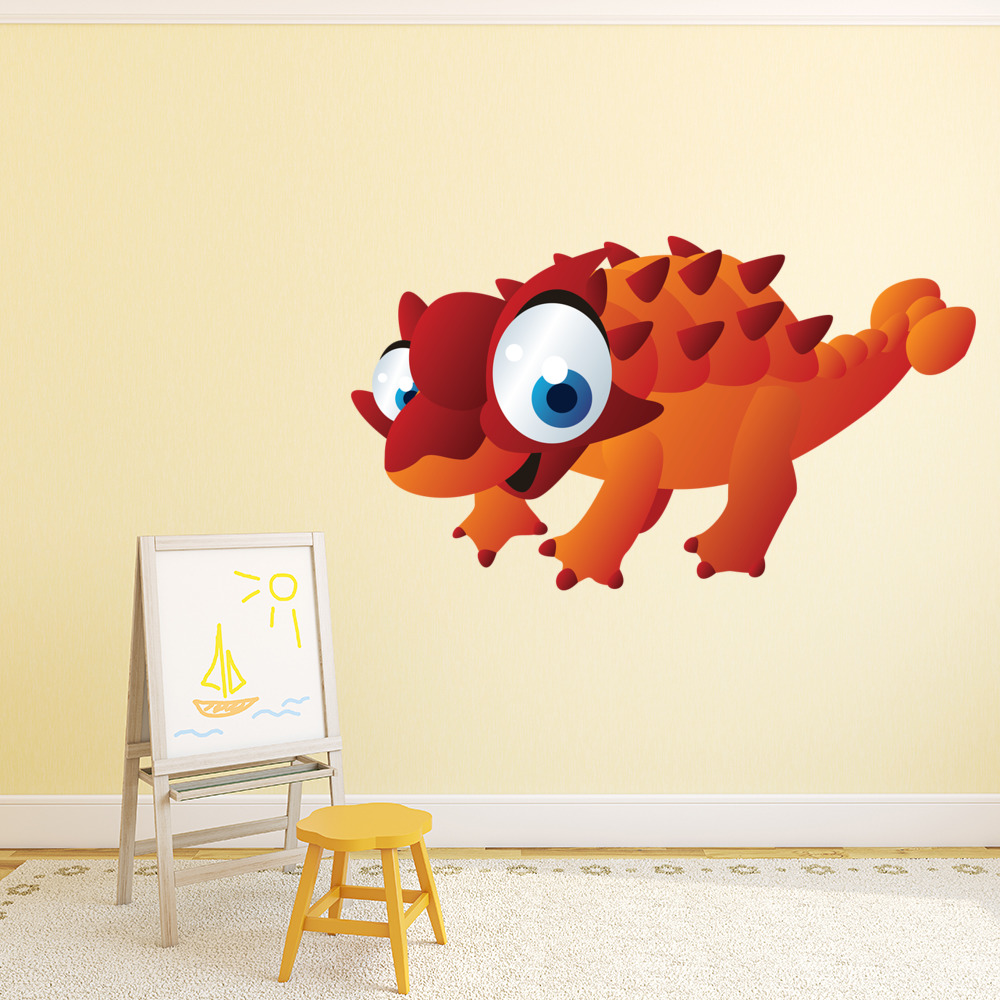 Spiked Cartoon Dinosaur Digital Wall Sticker