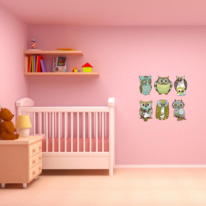 Cute Owl Wall Sticker Set Fun Birds Wall Decal Girls Bedroom Nursery Home Decor