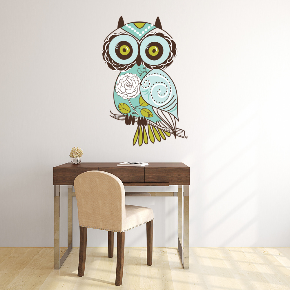 Rose Teal Owl Digital Wall Sticker
