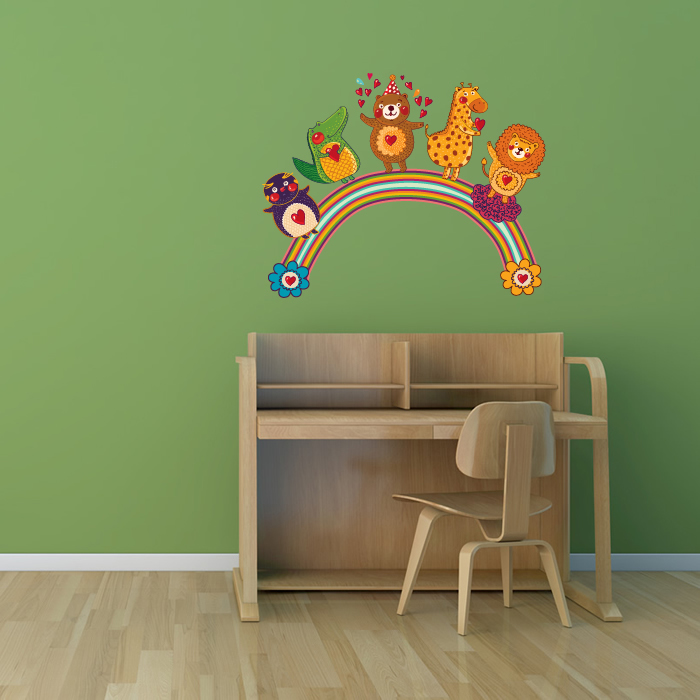 Cartoon Animals On Rainbow Digital Wall Art Wall Sticker