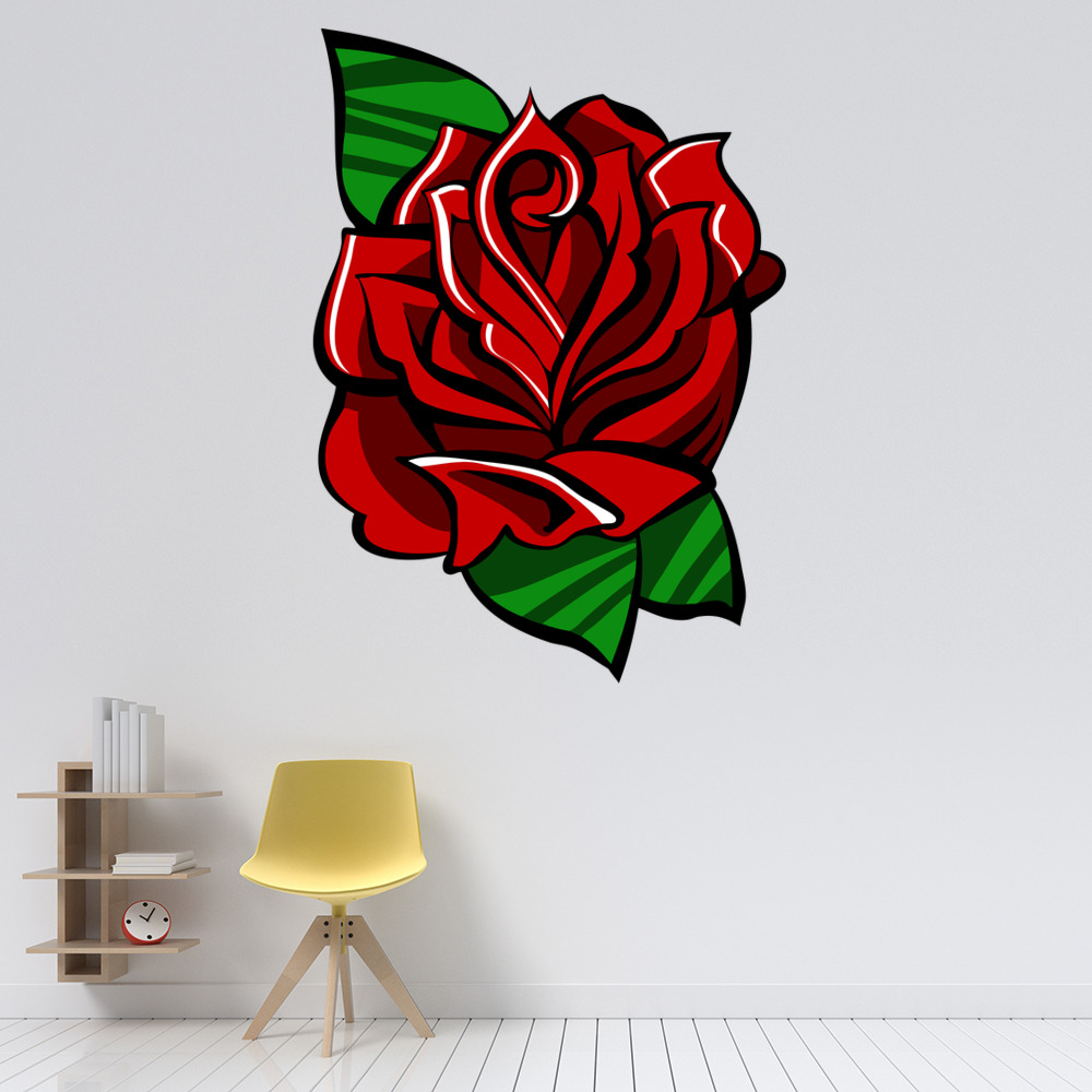 Rose And Leaves Digital Wall Art Wall Sticker