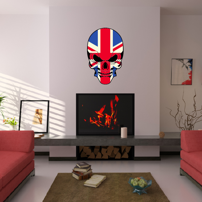 Skull Union Jack Flag Digital Wall Art Wall Sticker