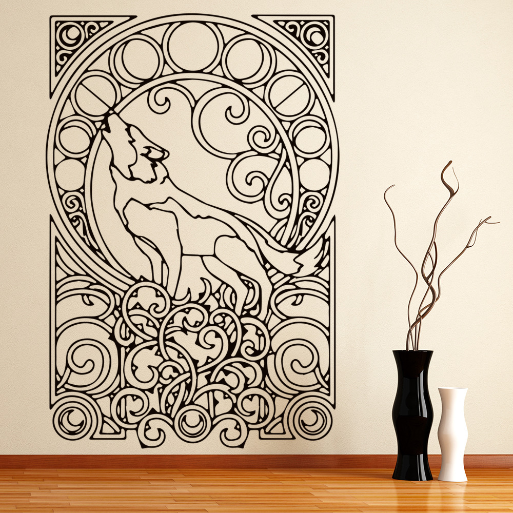 Detailed Howling Wolf Wall Sticker Animal Wall Art