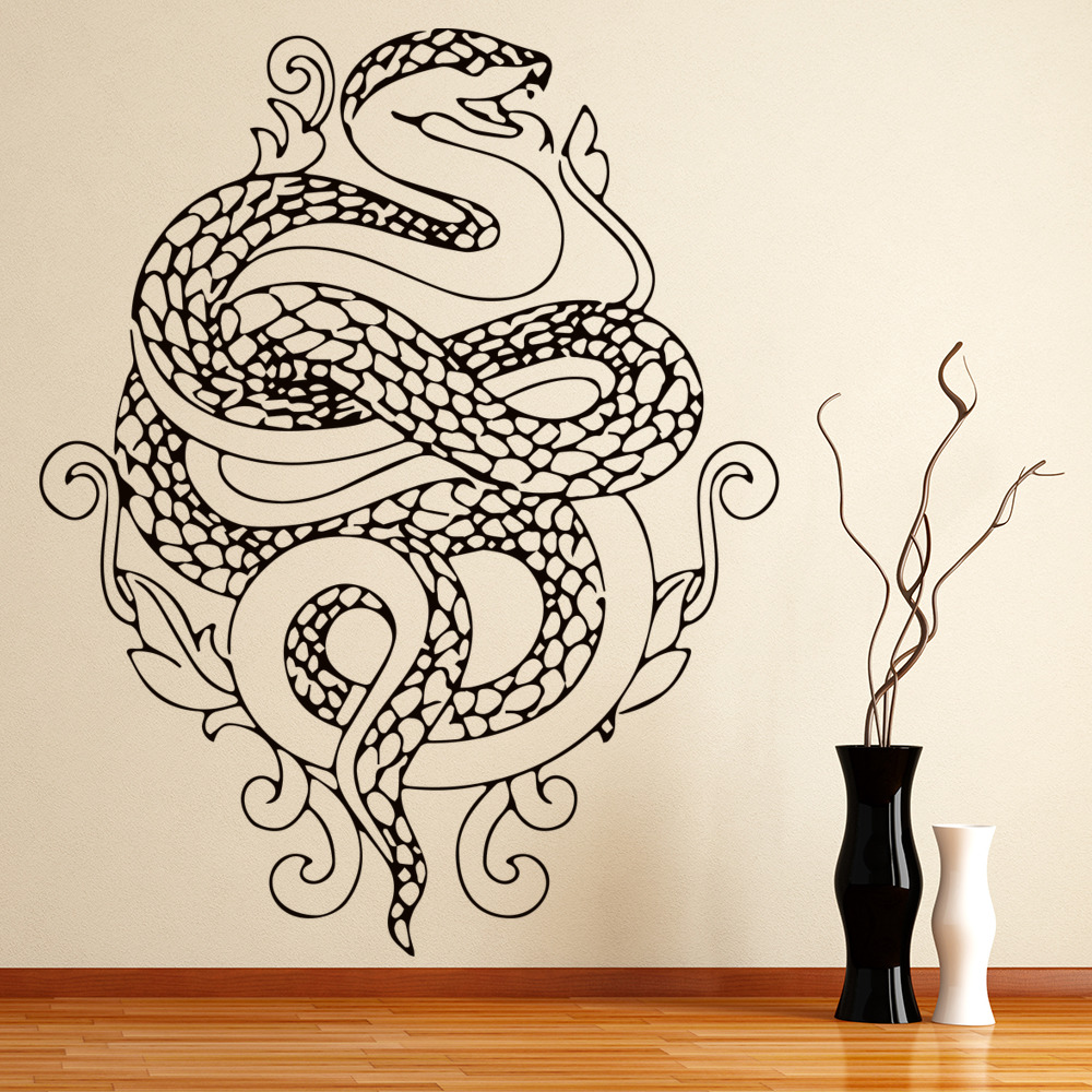 Floral Snake Wall Sticker Animal Wall Art