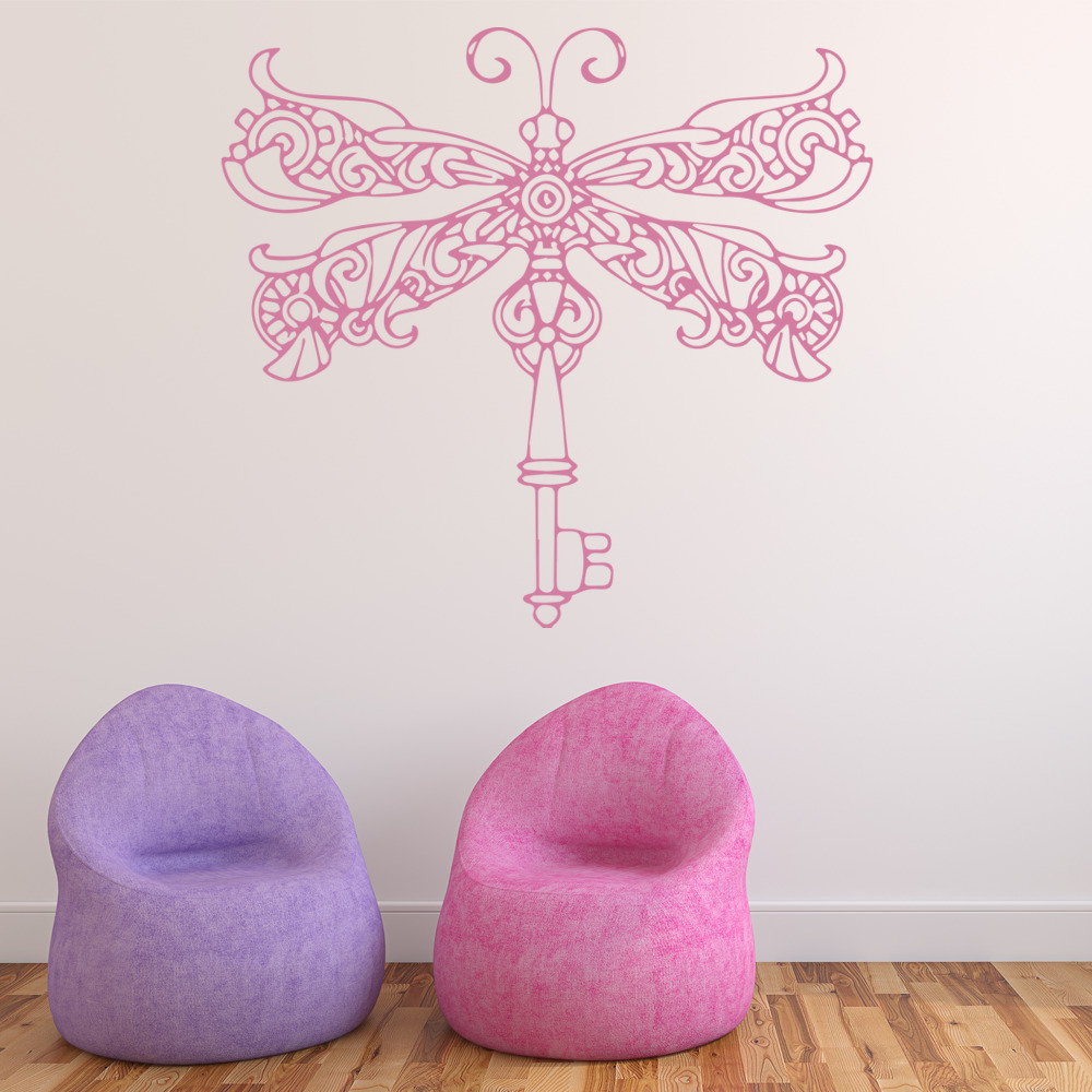 Dragonfly Key Wall Sticker Animal Wall Art