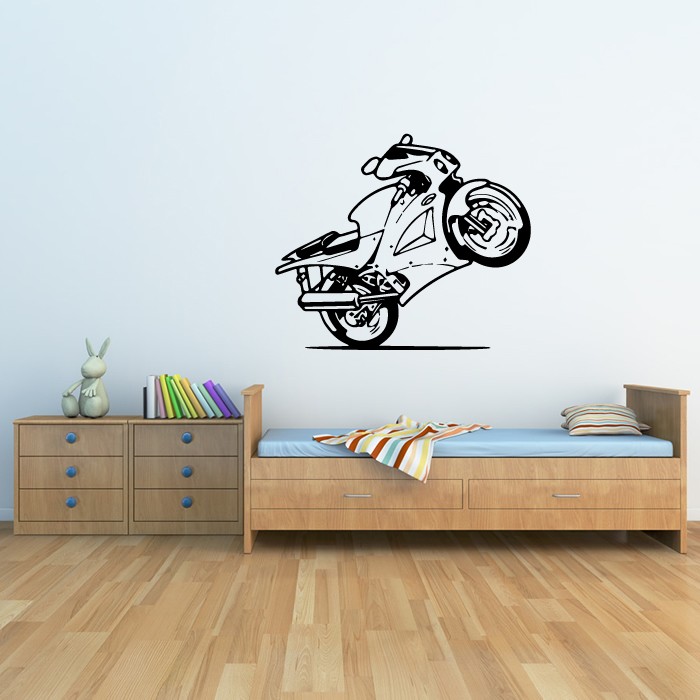 Cartoon Bike Wheelie Wall Sticker Transport Wall Art