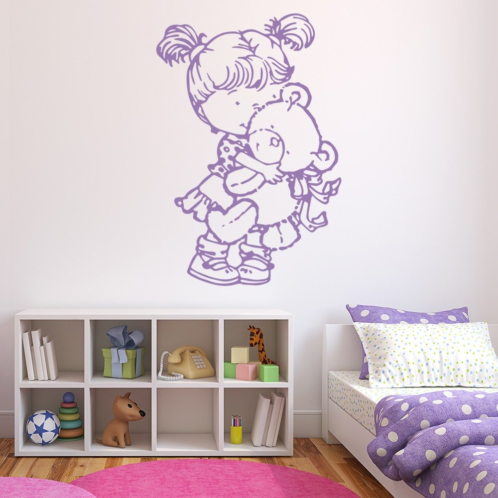 Child With Bear Wall Sticker Cartoon Wall Art