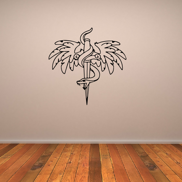 Snake And Winged Dagger Wall Sticker Embellishment Wall Art