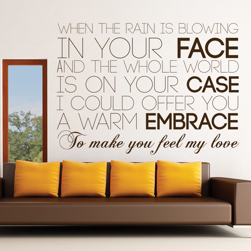 Adele 19 Make You Feel My Love Song Lyrics Wall Stickers Music Home Art Decals