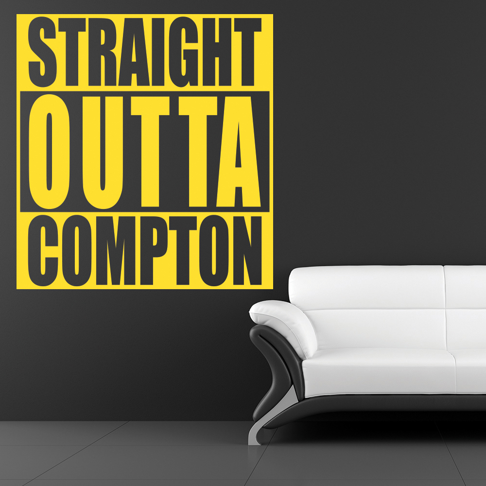 Straight Outta Compton Hip Hop USA Title Wall Stickers Movie Music Art Decals