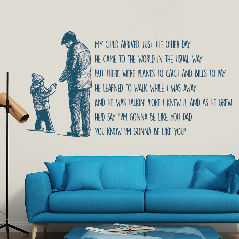 Cats In The Cradle My Child Arrived Song Lyrics Wall Stickers Music Art Decals