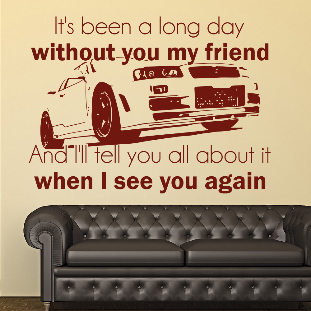 When I See You Again Wiz Khalifa Charlie Puth Lyrics Wall Sticker Music Decals