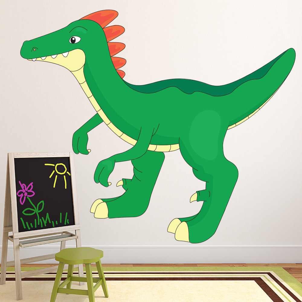 Cartoon Velociraptor Dinosaur Colour Wall Sticker Kids Art Decals Decor