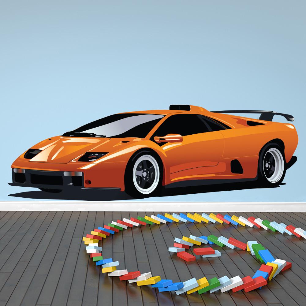 Orange Lamborghini Wall Sticker Sports Car Wall Decal Boys