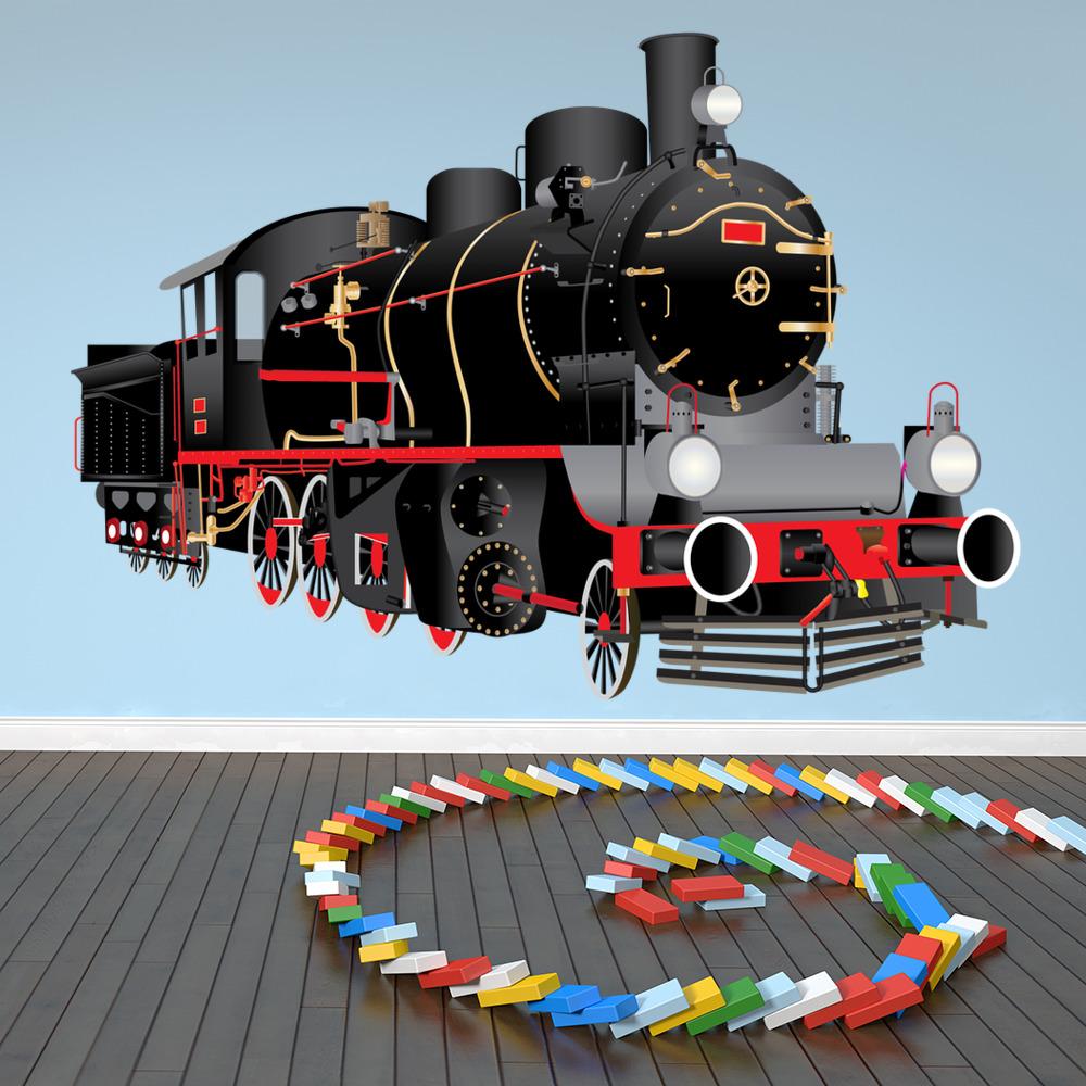 Train Bedroom Decor: Black Steam Train Wall Sticker Classic Train Wall Decal
