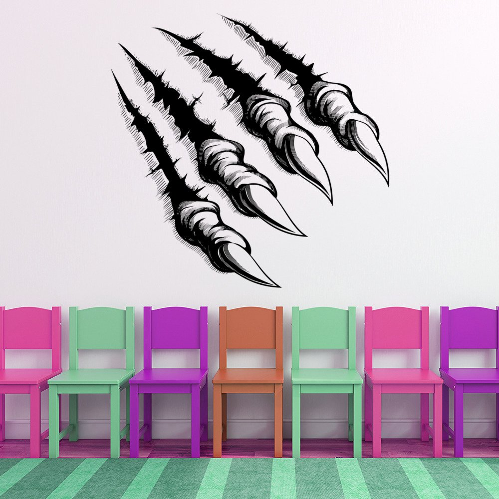 Halloween Wall Sticker Werewolf Claws Monster Wall Decal Kids Vinyl Home Decor