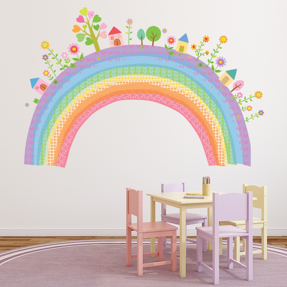 City Rainbow Wall Sticker Childrens Wall Decal Nursery ...