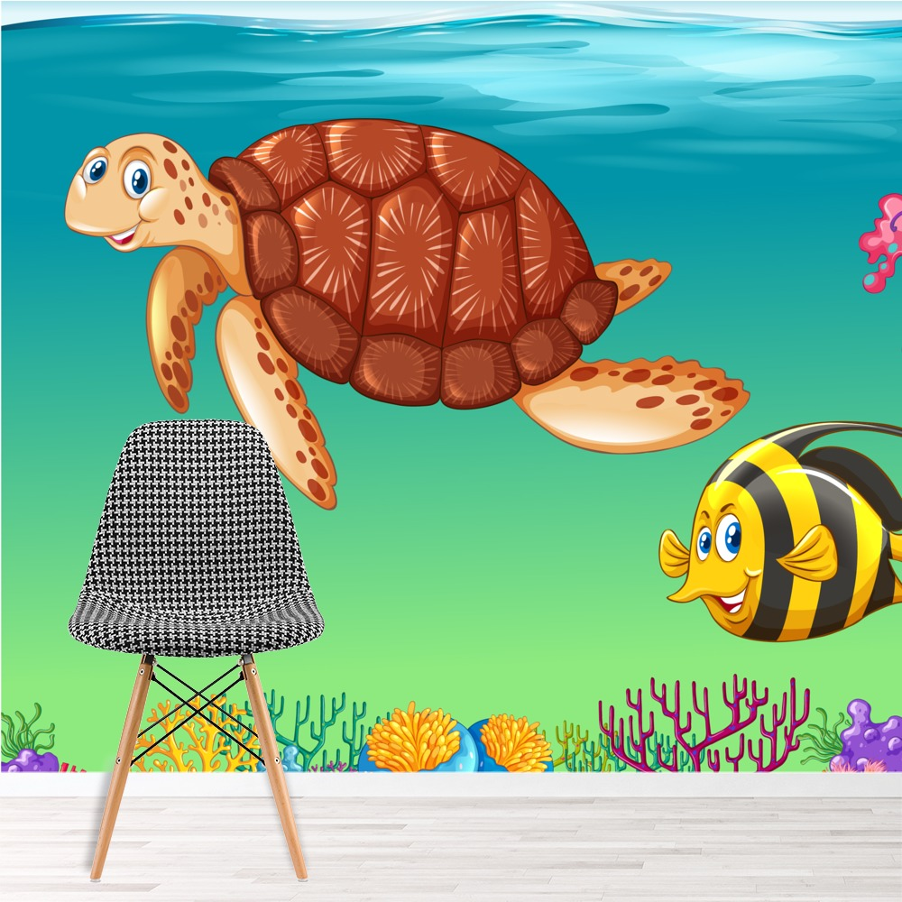 sea animals coral reef under the sea wall mural kids. Black Bedroom Furniture Sets. Home Design Ideas