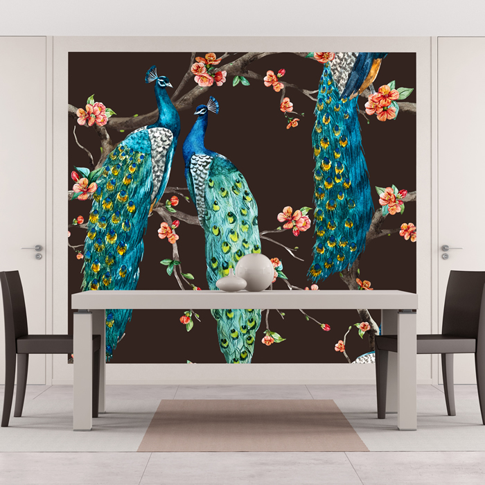 Blue Peacock Wall Mural Pink Cherry Blossom Photo ...